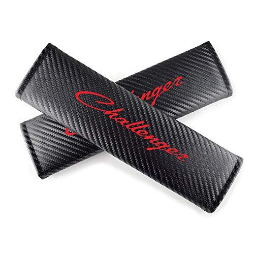 GLLXPZ 2本のカーボンファイバーレザーカーシートベルトカバー、ダッジチャレンジャーのために、カーシートベルトショルダーパッドカーアクセサリー