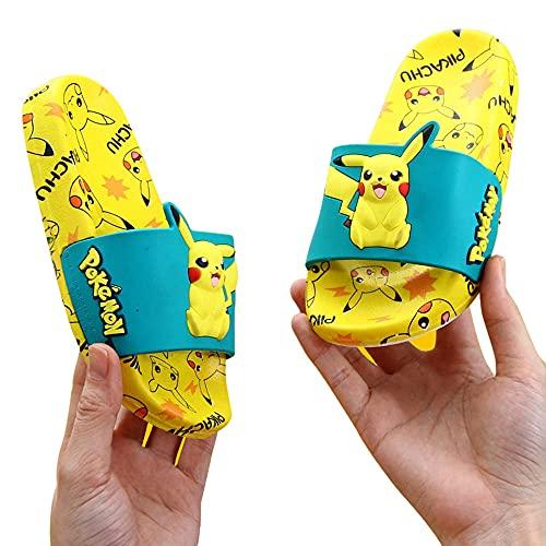 Rubyurphy Pikachu Jongens Meisjes Leuke Slide Sandalen, Zomer Kids Waterschoenen Badkamer Strand Zwembad Slipper Antislip Sandaal Slippers voor Unisex-Yellow_EU30/31 (19cm)