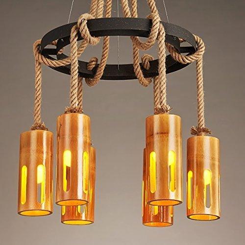 TAIDENG Araña - Cuerda de cáñamo Lámpara de bambú rural/de vientos industriales Tienda de ropa de barra Chandelier E27 (Color : 60 * 135cm)