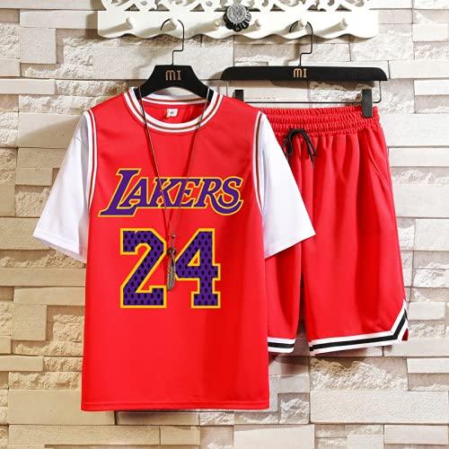 Lakers # 24 Memorial Kobe Camiseta de baloncesto para adultos Traje de baloncesto para hombre Manga corta + Pantalones cortos Traje Camiseta de baloncesto