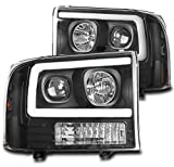 ZMAUTOPARTS LED Black Projector Headlights Headlamps For 1999-2004 Ford F-250 F-350 F-450 F-550 Super Duty