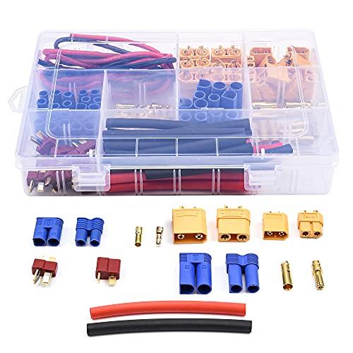 VSLIFE 76pcs t-Plug / XT60 / XT90 / EC3 / EC5 para Conectores de Adaptador de Enchufe Masculino y Femenino, Alambre de Silicona y Kit de Tubos retráctil para RC Coche / Marco Ajuste