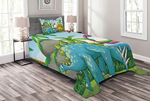 ABAKUHAUS Jurassic Tagesdecke Set, Dinosaurier im Dschungel, Set mit Kissenbezug luftdurchlässig, für Einselbetten 170 x 220 cm, Mehrfarbig