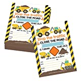 25 Orange Tractor Road Construction Zone Birthday Party Invitations For Boy, Bulldozer Truck Digging Invites For Kids, Yellow Builder Hammer, Traffic Sign Tape Theme Bday Supplies, Printable Template