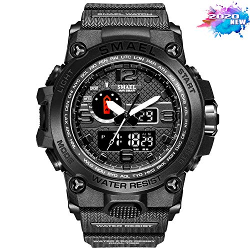 SMAELBand Männer Military Watch 50m Wasserdicht Armbanduhr LED Quarz Uhr Sport Uhr Männer S Shock 1545,Schwarz