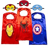Superhero Cape for Kids-Avengers Cape and Mask-Cosplay Costumes Set for Kids Superhero Toy Gifts for 3-10 Year Old Kids (Spider-Man + Iron Man + Captain America) Red