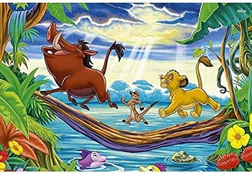 GEZHF – Cuadro al óleo por números – El Rey León y su pareja – Puente cruzado, 16 x 20 pulgadas para adultos, dibujo, lienzo, arte de pared, arte artístico, pinturas – sin marco