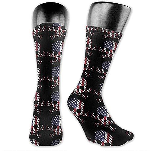lucies Flaggenschädel Amerikanische Flagge Unisex Crew Socken Athletic Socks