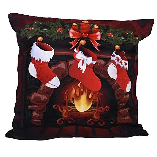 PTMJ Christmas Pillow Case Cartoon Print Cushion Cover Snowman Dog Christmas Classic Pattern Print Throw Pillow Home Decoration Square Cushion cover (Multicolor #B)