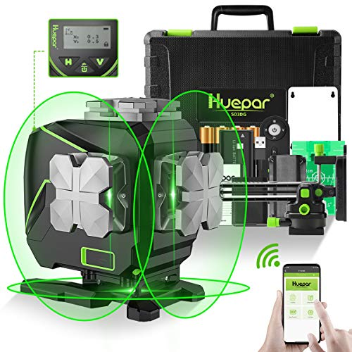 Huepar 3x360° SelfLeveling Laser Level with LCD Screen3D Bluetooth Connected Green Beam Cross Line Tiling Floor Laser Tool 360° Horizontal/Vertical Laser Line Remote ControlampHard Carry Case S03DG