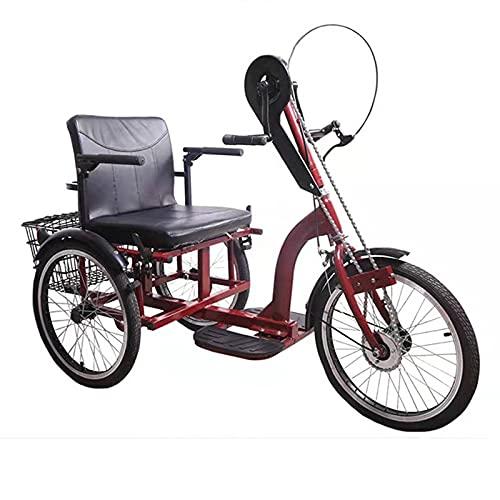 Triciclo para Adultos Bicicleta Triciclo Adulto Triciclo De Mano Push-Pull Outdoor Sports Diseño Tradicional para Personas Mayores