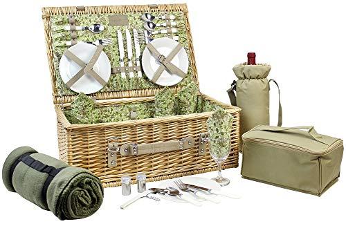 HappyPicnic picknickmand voor 4, mand van natuurlijk gevlochten wilgentenen, uitgerust met een wijntas, koeltas, deken en bestek (van rood PU-) Beige Pu