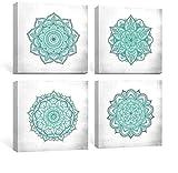 SUMGAR Cuadros en Lienzo Mandalas Decoración Salón Dormitorios Baño con Mural Modernos Boho Ilustraciones Turquesa Flores Impresiones Cuadros Verde Azulado Florales Indios de 30x30cmx4 Piezas