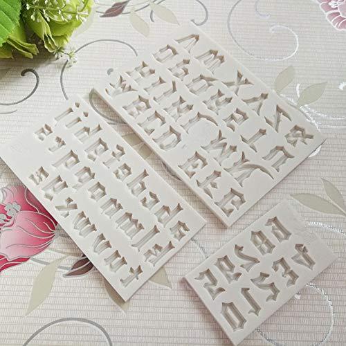 GJEFEGS 3pcs/set Capital/Letter/Number Silicone Mold Fondant Mold Cake Decorating Tools Chocolate Gumpaste Mold