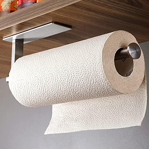 ZUNTO Küchenrollenhalter Ohne Bohren Küchenpapierhalter Selbstklebend Papierrollenhalter unter Schrank, Edelstahl SUS304, 33cm