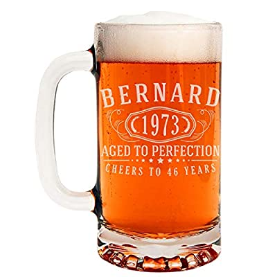 Personalized Etched 16oz Glass Beer Mug for Birthday Gifts