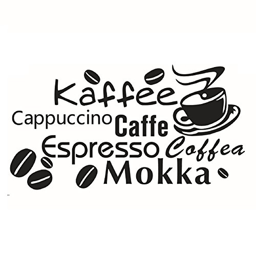 Lumanuby Kaffee Aufkleber von Cappuccino/Espresso/Mokka Coffee Wand Decal für Kuche/Kantine/Cafe Schwarz Farbe 1pcs, Wandtattoo Serie
