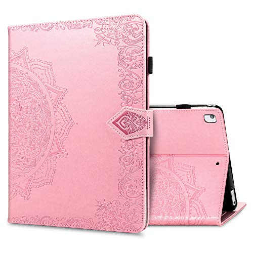 iPad Air 2 Case Wallet. Double-Fold Stand Shockproof TPU Back Cases, Auto Wake/Sleep (Black) [Four Corners Anti-Drop Series] Cover iPad Air 2 (iPad Air 2, pink)
