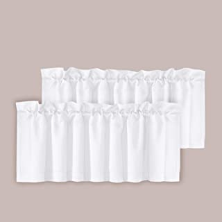 H.VERSAILTEX Room Darkening Blackout Window Curtain Valances for Living Room/Bedroom, 2 Pack, 52 inch x 18 inch, Pure White
