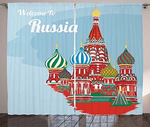 ABAKUHAUS Russisch Rustikaler Gardine, Architektur slawische Kunst, Schlafzimmer Kräuselband Vorhang mit Schlaufen und Haken, 280 x 225 cm, Pale Sky Blue Multicolor