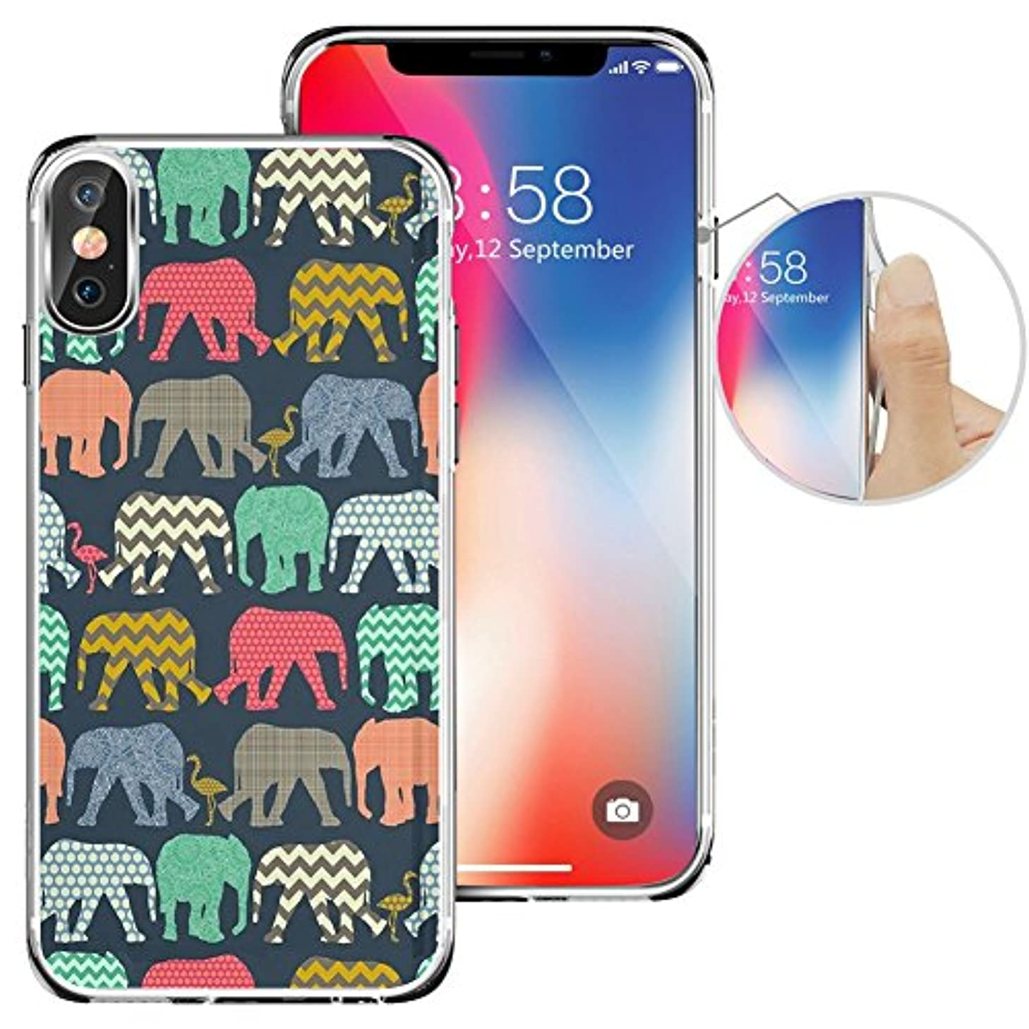 iPhone X Case Henna Mayan Aztec tribal elephant, LAACO Scratch Resistant TPU Gel Rubber Soft Skin Silicone Protective Case Cover for 5.8