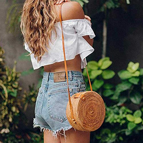 Handwoven Round Rattan Bag Shoulder Leather Straps for Women