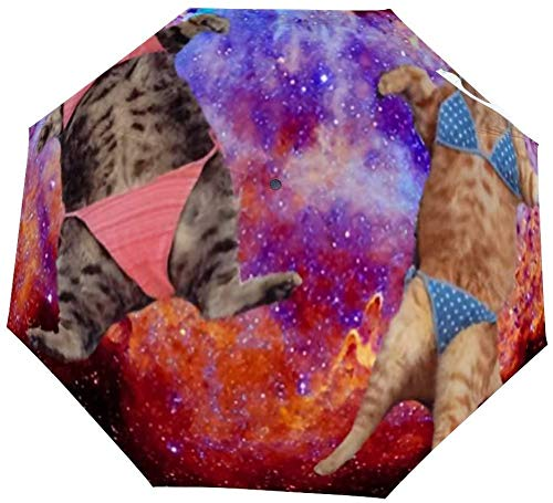 Faltbarer Regenschirm, Fat Bikini, Katze im Weltraum, Galaxie, automatischer Regenschirm, Winddicht, leicht, kompakt, für den Außenbereich, Sonne und Regen
