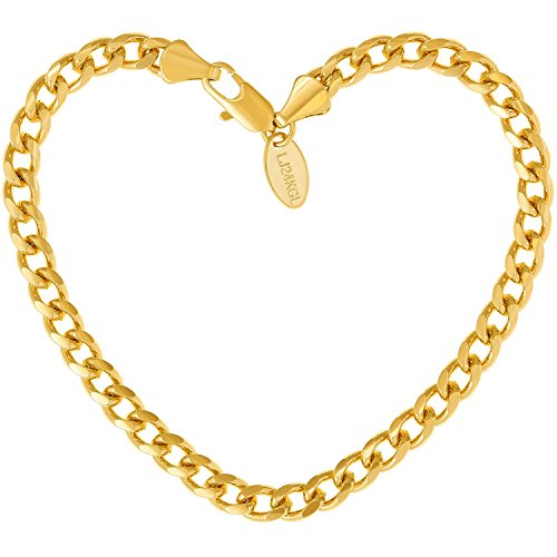 Lifetime Jewelry Cuban Link Bracelet 5MM, Round, 24K Gold Over Bronze, Premium Fashion Jewelry, Guaranteed for Life, 7 Inches