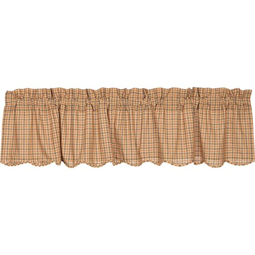 VHC Brands Millsboro Scalloped Valance 16x72 Country Rustic Curtain, Tan
