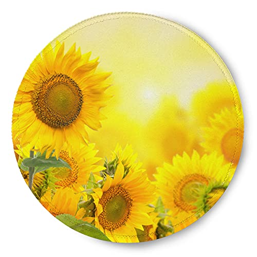 ZXZNC Mouse Pad Round for Women Field with Sunflowers Flowers Mousepad Mini Cute Computer Laptop Mouse Pad Mat Personalized Circle Small Cool Gaming Mouse Pads Kids Girls Boys Non Slip 8in
