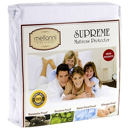 Mellanni Premium Waterproof Mattress Protector - Fitted Deep Pocket - Better Than Pads, Covers or Toppers (Queen)