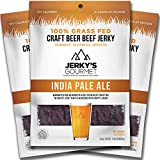 IPA Craft Beer Grass Fed Beef Jerky - 100 Calorie Snacks, Gourmet Healthy Low Carb, High Protein - Keto Friendly India Pale Ale Flavor (3 Packs)