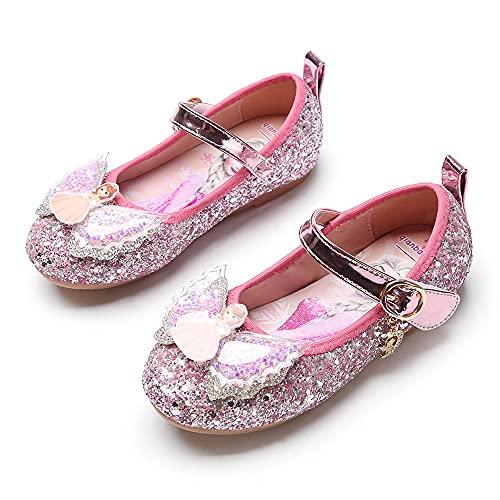 Eleasica Zapatos de Vestir para niñas con sueños de ser Princesa Vestido de Novia a Juego, Merceditas de Ceremonia con Adorno en la Puntera Regalo Zapato Princesa Elsa y Sofia en Azul, Rosa, Plata