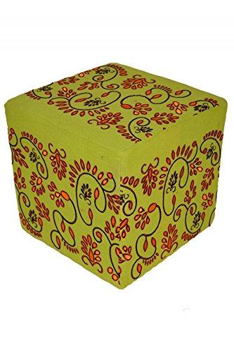 Orientalischer eckiger Pouf aus Baumwolle inklusive Füllung | Marokkanisches Sitzkissen Sitzpouf Kissen Bahar grün 45cm Eckig | Marokkanischer Hocker Sitzhocker Fusshocker Bestickt |Farbe auswählen