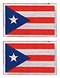 2 PCS AliPlus Puerto Rico Flag Patch Embroidery Tactical Military Patch Hook and Loop for Backpacks Caps Hats Jackets