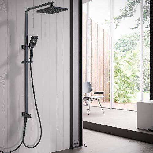 Lonheo Duschsystem Duschsäule mit Überkopfbrause und Drei Funktionen Handbrause verstellbarer Duschstange Regenduschset fürs Bad, Schwarz