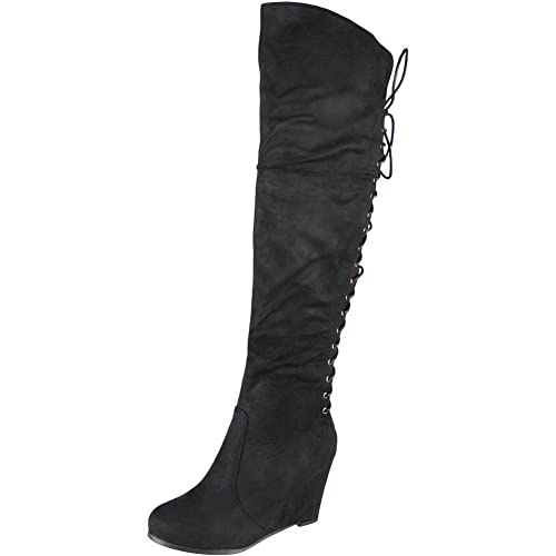 cb3002d4ae2e Loud Look Womens Ladies Over The Knee High Boots Back Tie Up High Wedge  Heel Shoes