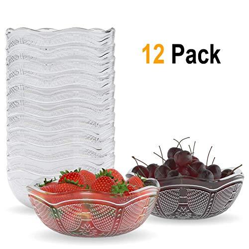 Homecredibles Reuseable Party Bowls | Microwave and Dishwasher Safe - Serving/Prep Bowls for Soup Salad Snack Desserts Candy Clear Plastic Bowls - 12 pack