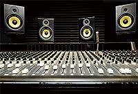 新しいスピーカーの背景ミキシングデスクスタジオ録音写真の背景7x5ft音楽テーマパーティーロックスター歌手誕生日80年代カラオケパーティー子供大人ポートレート写真撮影デジタル壁紙