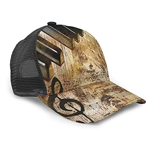 ZORIN Cappellino da baseball per uomo e donna pianoforte spartito musica vintage nero hip hop mesh cap regolabile Snapback cappelli papà camionista cappello