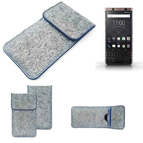 K-S-Trade Filz Schutz Hülle Für BlackBerry KEYone Bronze Edition Schutzhülle Filztasche Pouch Tasche Hülle Sleeve Handyhülle Filzhülle Hellgrau, Blauer Rand