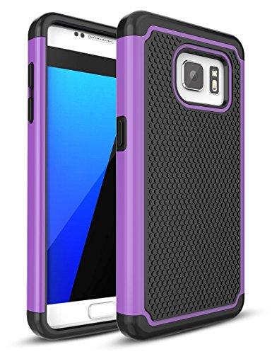 TILL for Samsung Galaxy S7 Case, TILL(TM) [Purple] [Shock Absorption] Dual Layer Hybrid Rugged Defender Soft Rubber & Hard Plastic Protective Grip Cute Case Cover for Samsung Galaxy S7 S VII G930 GS7