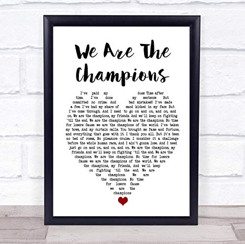 Fingerprint Designs Gerahmtes Wandbild mit Liedtext Queen We Are The Champions Framed Rose Gold Small