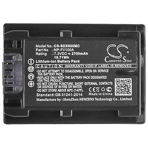 CS-SDX600MC Akku 2700mAh Kompatibel mit [Sony] FDR-AX33, FDR-AX40, FDR-AX45, FDR-AX53, FDR-AX60, FDR-AX700, FDR-AXP33, HDR-CX450, HDR-CX625, HDR-CX680, HDR-PJ620, HDR-PJ675, NEX-VG30 Ersetzt NP-FV100