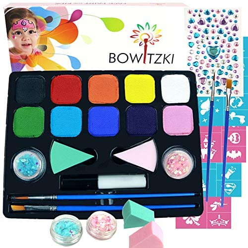 Bowitzki Face Paint Kit with 10 Colors 32 Stencils 2 Brushes 2 Chunky Glitters 2 Sponges 1 Body product image