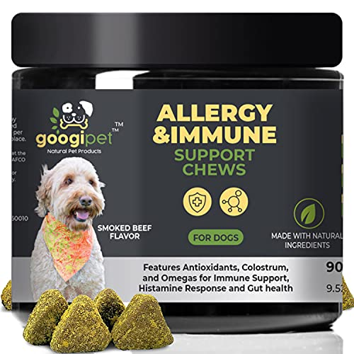 Googipet Dog Allergy Relief Chews - Allergy Medication for Dog Itch Relief   Alaskan Salmon Fish Oil for Dogs  Dog Probiotic & Colostrum Immunity  Skin Hot Spot Treatment Dog for Seasonal Allergies