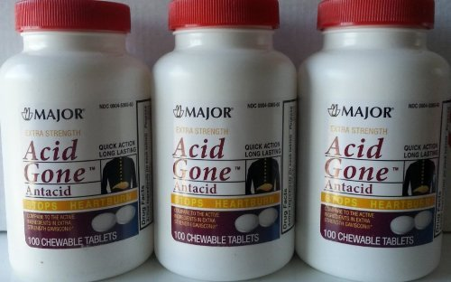 [3 PACK] EXTRA STRENGTH ACID GONE™ ANTACID CHEWABLE TABLETS 100 CT *COMPARE TO THE EXACT SAME ACTIVE INGREDIENTS FOUND IN EXTRA STRENGTH GAVISCON® & SAVE!!*