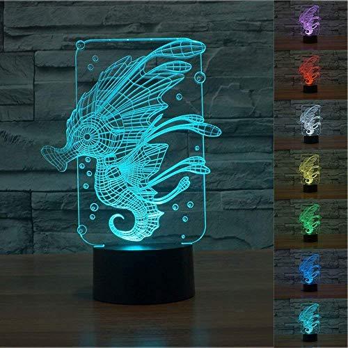 Preisvergleich Produktbild 3D Seepferdchen Glühen LED Lampe 7 Farben erstaunliche optische Täuschung Art Skulptur Ferneinstellung Lichter produziert einzigartige Lichteffekte und 3D-Visualisierung für