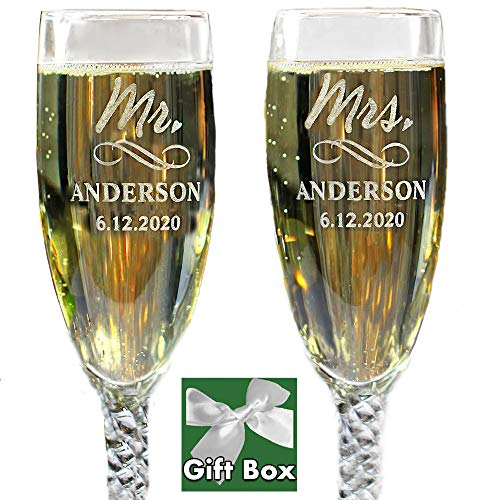 Personalized Mr and Mrs Wedding Toasting Champagne Flutes, Set of 2, Engraved Customized Glasses for Bride and Groom, Gift Box Included