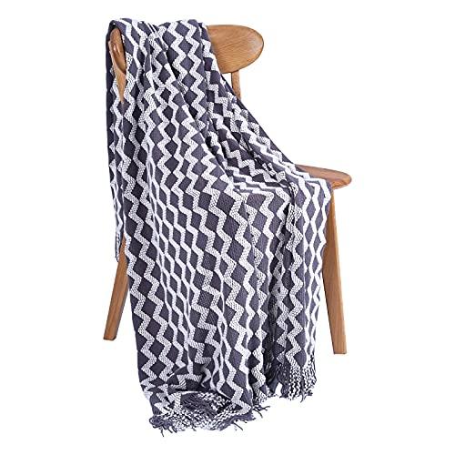 Qucover Strickdecke Grau Kuschdeldecke Gestrickt Flauschige Wohndecke mit Quasten 127x173cm Sofadecke Couchdecke Dekorative für Wohnzimmer Bett